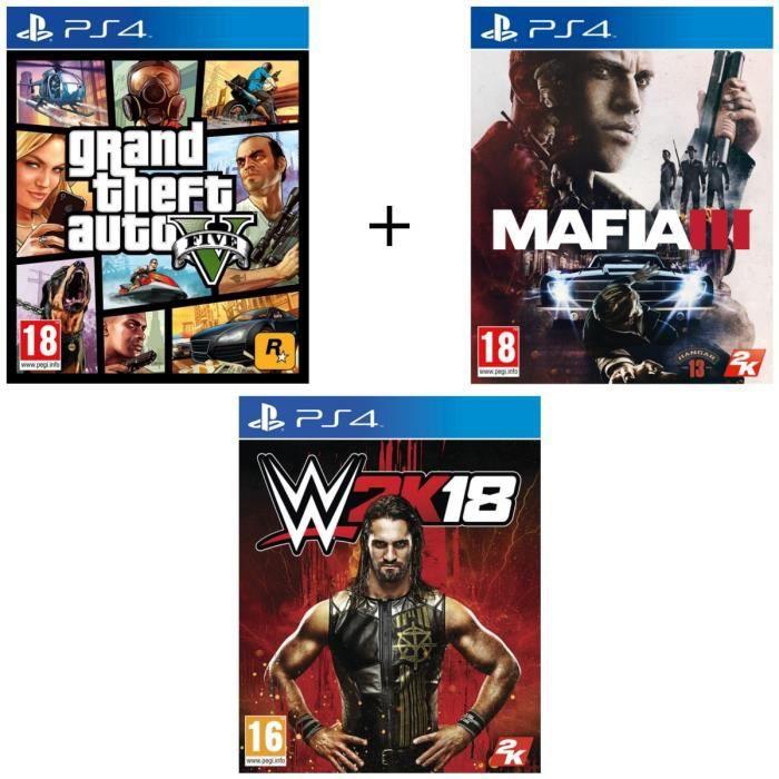 Pack de 3 Jeux PS4: GTA V + Mafia III + WWE 2K18