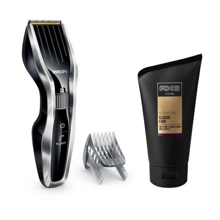 Pack : PHILIPS Series 5000 HC5450/16 Tondeuse cheveux - Noir + AXE Gel coiffant Signature Classic Look - Effet Mouillé OFFERT