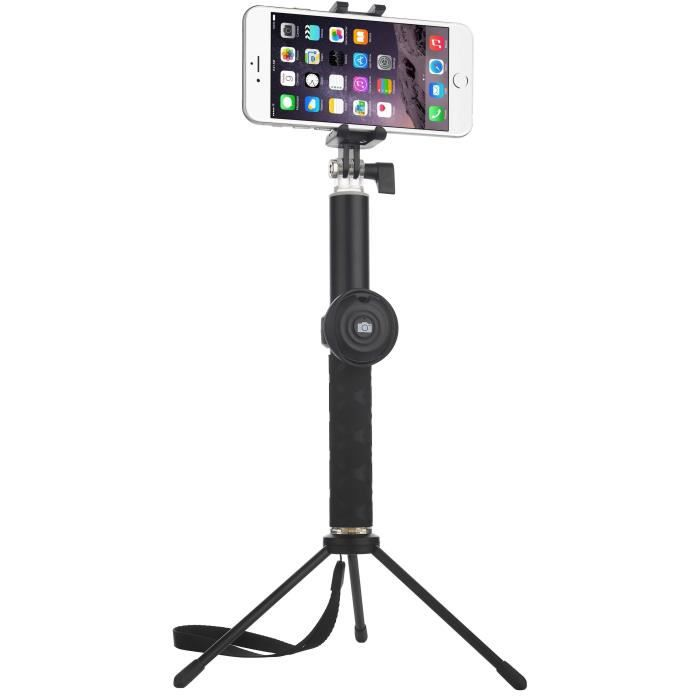 QANTIK GALAXY Perche à Selfie 2 en 1 bluetooth avec trépied amovible pour smartphone et caméra sport 26 à 116cm