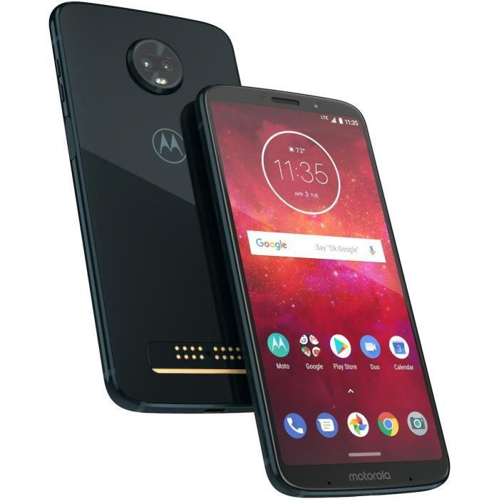 Motorola Moto Z3 Play Bleu nuit + MODS batterie offerte