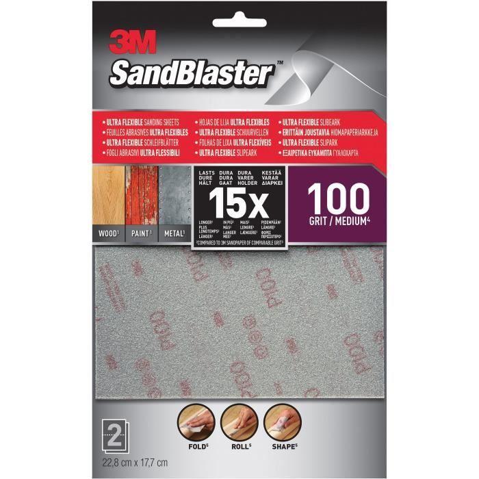 3M SANDBLASTER Lot de 2 Feuilles abrasives - 17,7 x 11,4 cm - Grain : 100