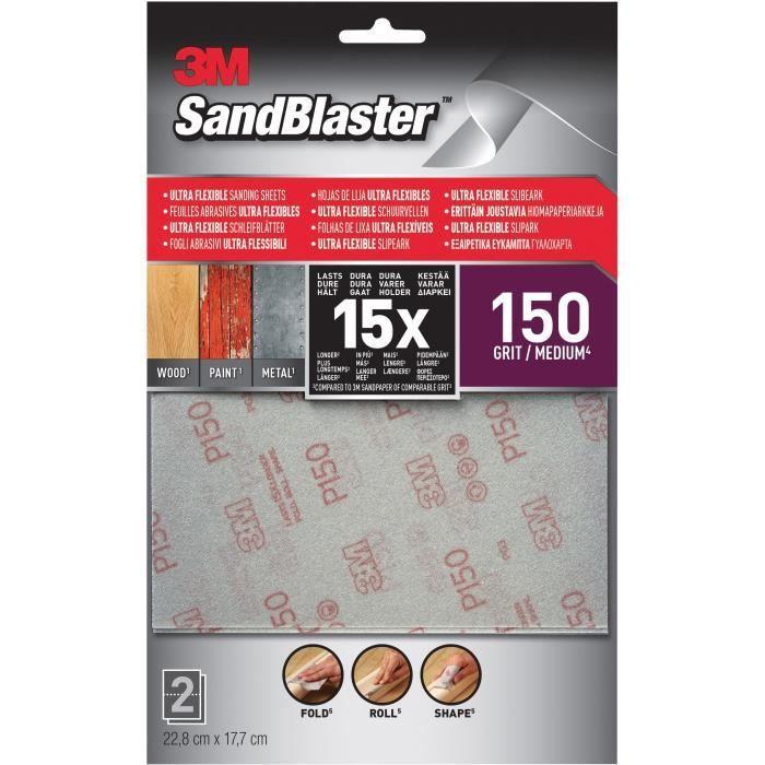3M SANDBLASTER Lot de 2 Feuilles abrasives - 17,7 x 11,4 cm - Grain : 150