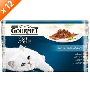 GOURMET PERLE Les Filletines en sauce Multivariétés - 4 x 85 g (x12) - Pour chat adulte