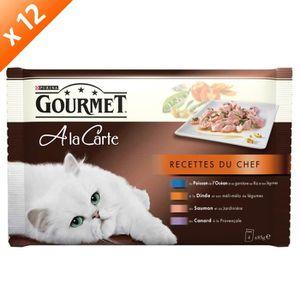 GOURMET A LA CARTE Recettes du Chef : Poisson de l'Océan - 4 x 85 g (x12) - Pour chat adulte