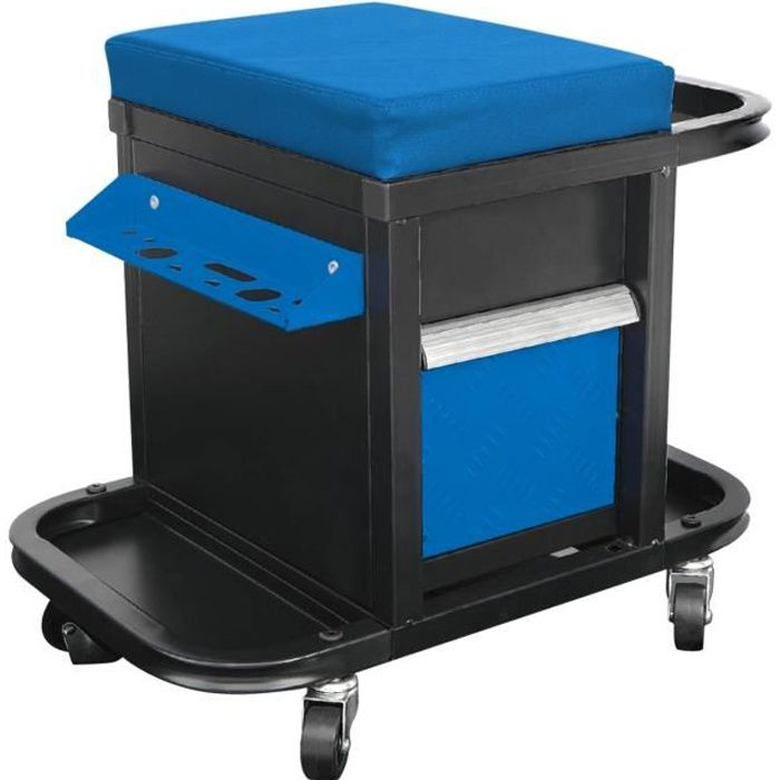 DEF'PRO Tabouret / servante d'atelier mobile avec rangements pour outils 50x45x36 cm bleu et noir