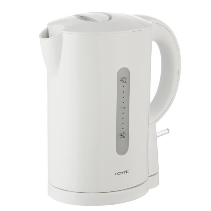 Bouilloire électrique sans fil - Capacité : 1 L - Puissance : 2200 W - Niveau d'eau visible - Bouton marche/arrêt - Filtre amovible - Couleur : blancBOUILLOIRE ELECTRIQUE