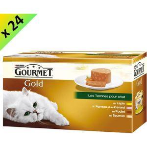 GOURMET GOLD Les Terrines Multivariétés - 4 x 85 g (x24) - Pour chat adulte