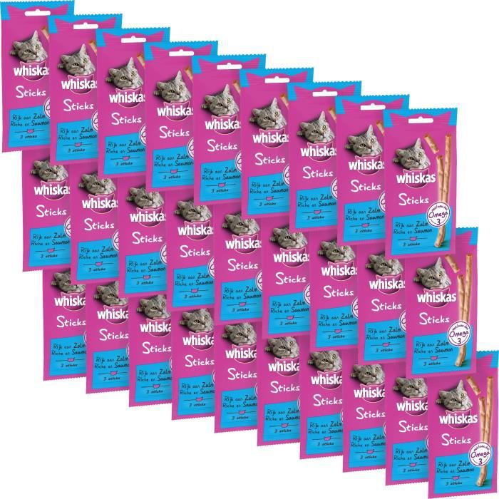 WHISKAS Friandises Sticks - Au saumon - Pour chat - 3 x 6 g (x28)