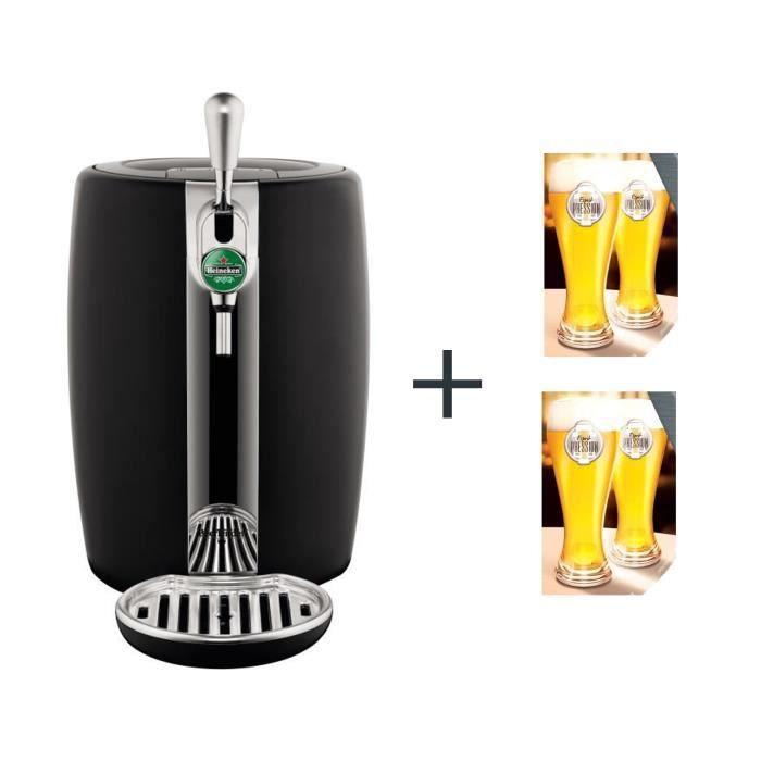 SEB - Beertender noir et métal-machine à bière - VB310E10 + 2 lot de 2 Verres à Bière ESPRIT PRESSION
