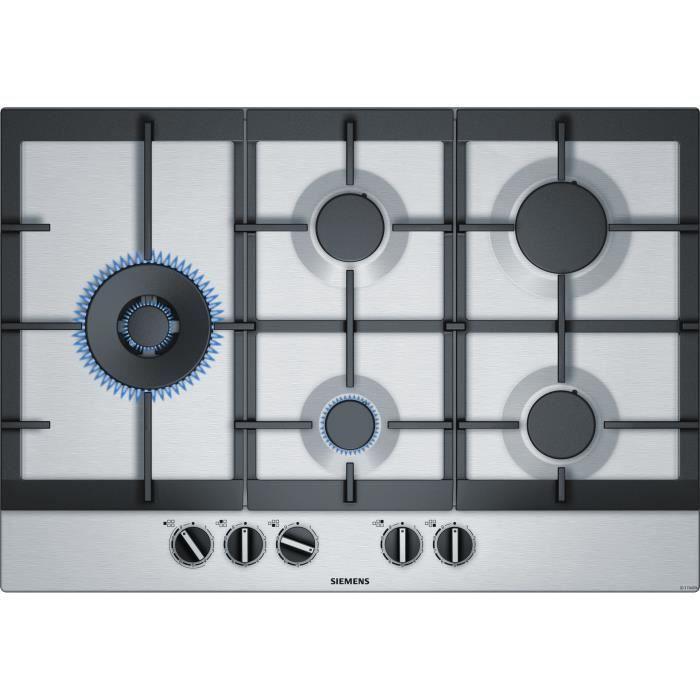 SIEMENS EC7A5SB90 Table de cuisson gaz - 5 foyers - 12500W max - L75 x P52cm - Revêtement inox - Col