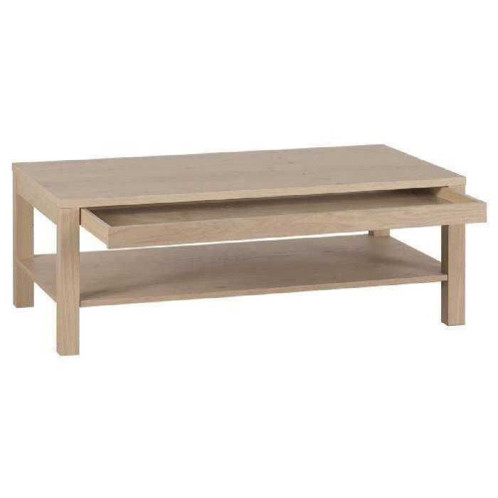 Panneaux de particules placage bois chêne verni - L 110 x l 60 x H 40 cm - 1 tiroir, 1 tabletteTABLE BASSE