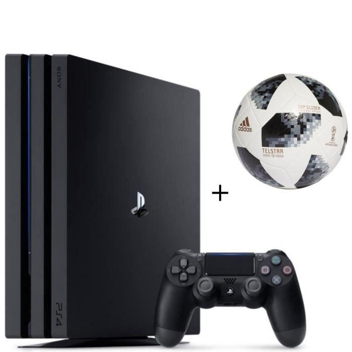 Pack PS4 Pro Noire 1 To + ADIDAS Ballon de football Coupe du Monde de la FIFA™ Top Glider - Taille 5 - Blanc et noir