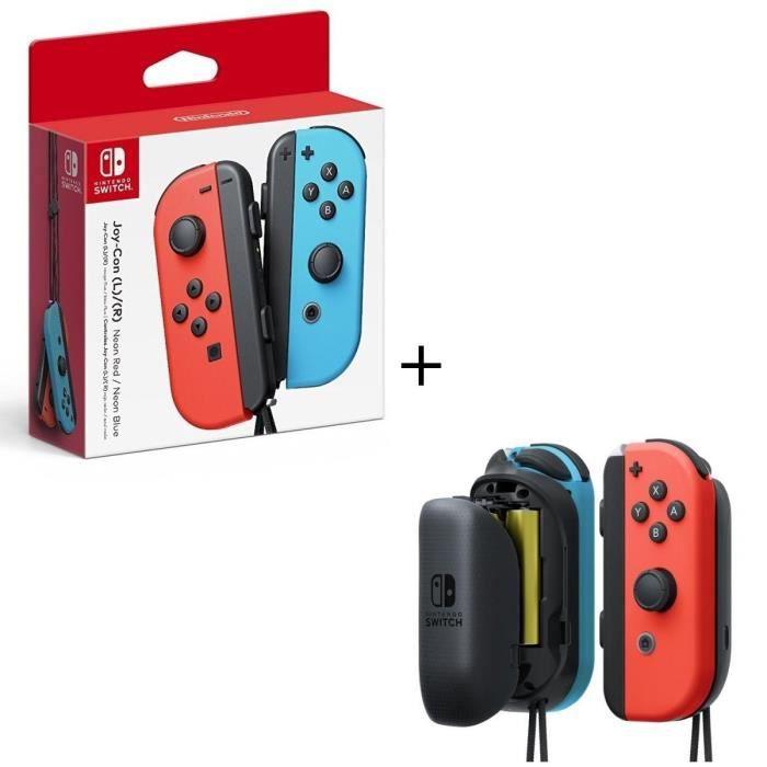Manettes Joy-Con Bleu Néon / Rouge Néon pour Console Switch + Paire de batteries à piles AA