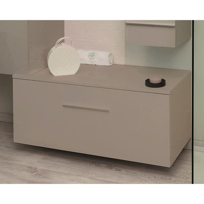 TERRY Ensemble meuble de salle de bain L 90 cm - Taupe et gris laqué