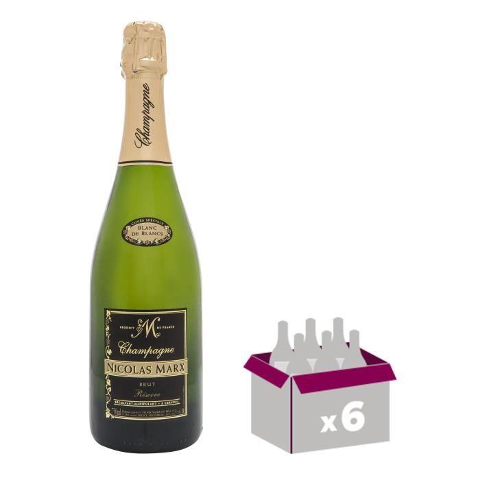 Nicolas marx champagne brut blanc de blancs 75 cl x 6