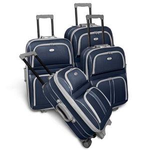 KINSTON Set de 4 Valises Souple 3 Roues 50-60-70-80cm Bleu