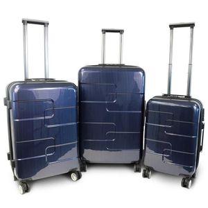 KINSTON Set de 3 Valises Rigide ABS & Polycarbonate 8 Roues 56-66-76cm Bleu