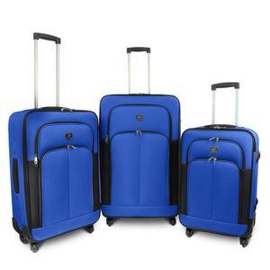 KINSTON Set de 3 Valises Souple 4 Roues 61-68-78cm Bleu