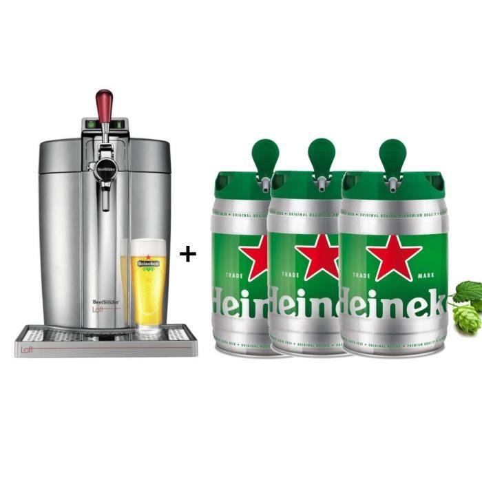 KRUPS Tireuse à bière Beertender - VB700E00 - Compatible fûts 5 L -  Chrome + 3 fûts de bière 5L HEI