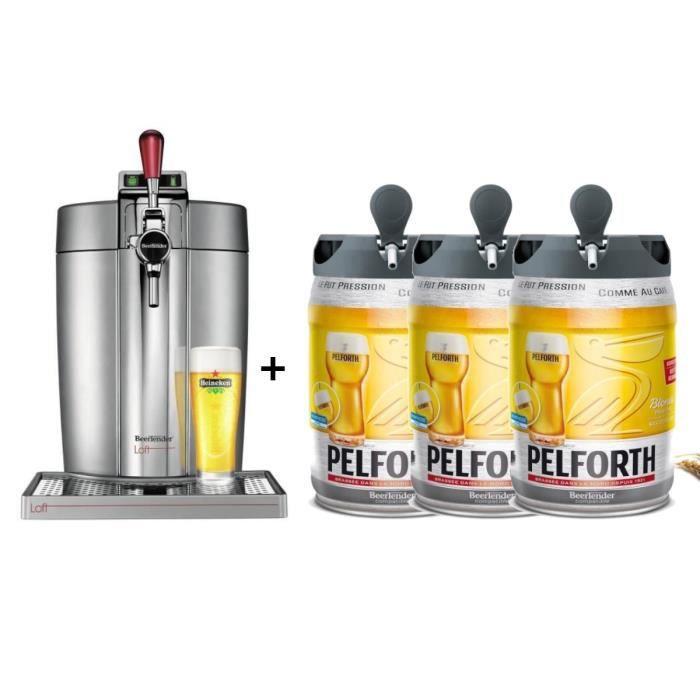 KRUPS Tireuse à bière Beertender - VB700E00 - Compatible fûts 5 L -  Chrome + 3 fûts de bière blonde