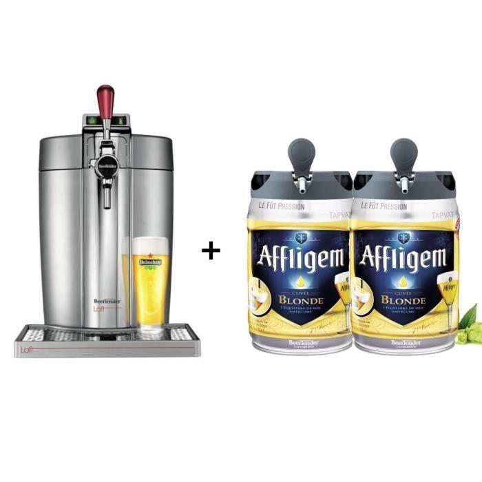 KRUPS Tireuse à bière Beertender - VB700E00 - Compatible fûts 5 L -  Chrome + 2 fûts de bière blonde