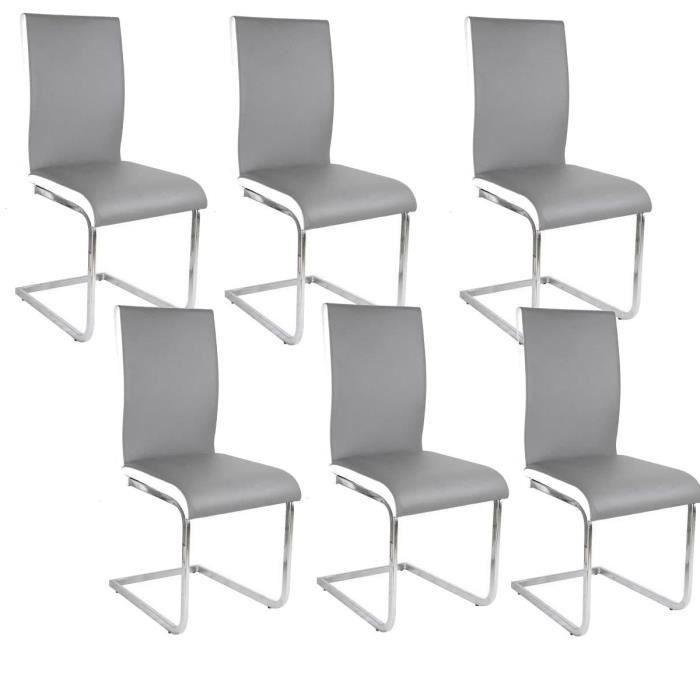 LEA Lot de 6 Chaises de salle à manger blanches grises