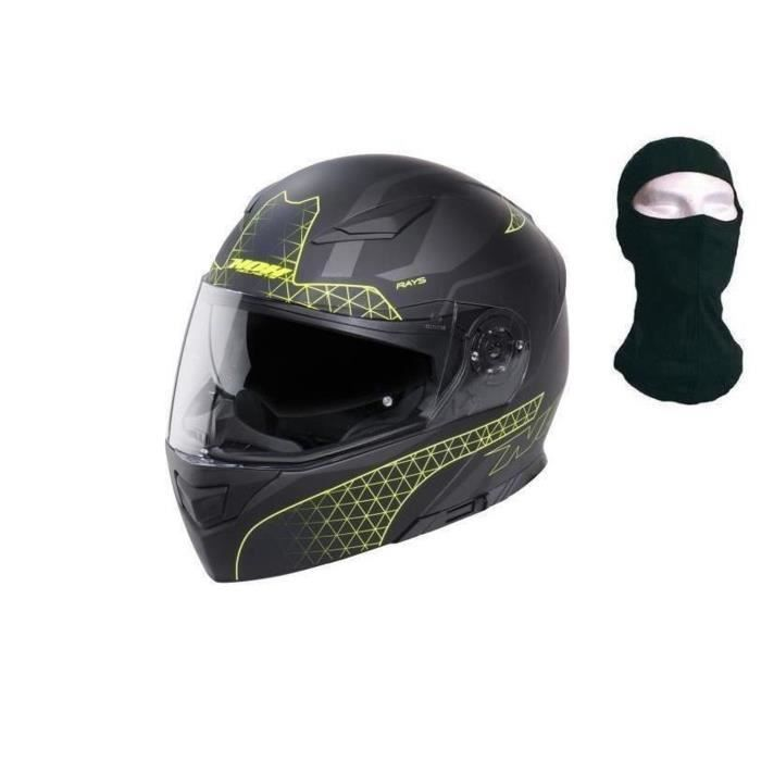 NOX Casque modulable N965 Rays - Jaune + cagoule
