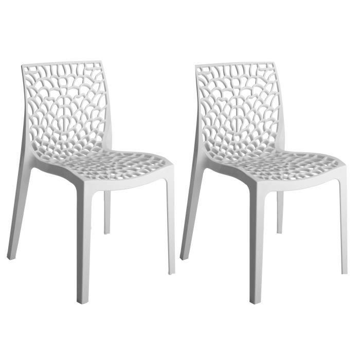 GREEN BOHEME lot de 2 chaises de jardin Gruvyer - En polypropylène - Blanc