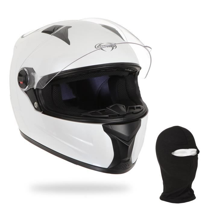 STORMER Casque Intégral Swift Blanc + Cagoule