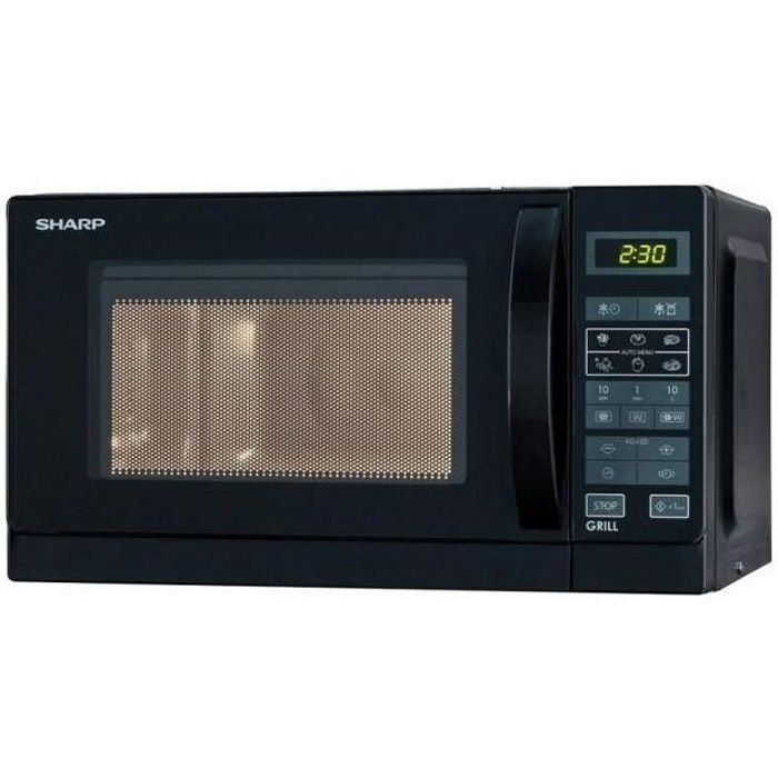SHARP R642BKW - Micro ondes grill combiné noir - 20 L - 800 W - Grill 1000 W - Pose libre