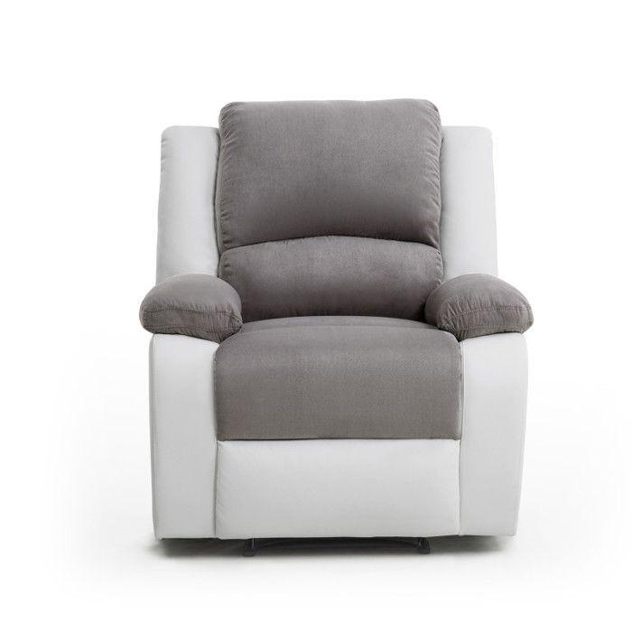 RELAX Fauteuil relaxation - Simili et tissu blanc et gris - Style contemporain - L 86 x P 90 cm