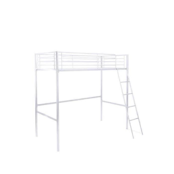 FINLANDEK Lit mezzanine enfant LEIJONA avec sommier - Style contemporain - En tubes d'acier laqués époxy blanc - l 90 x L 190 cm