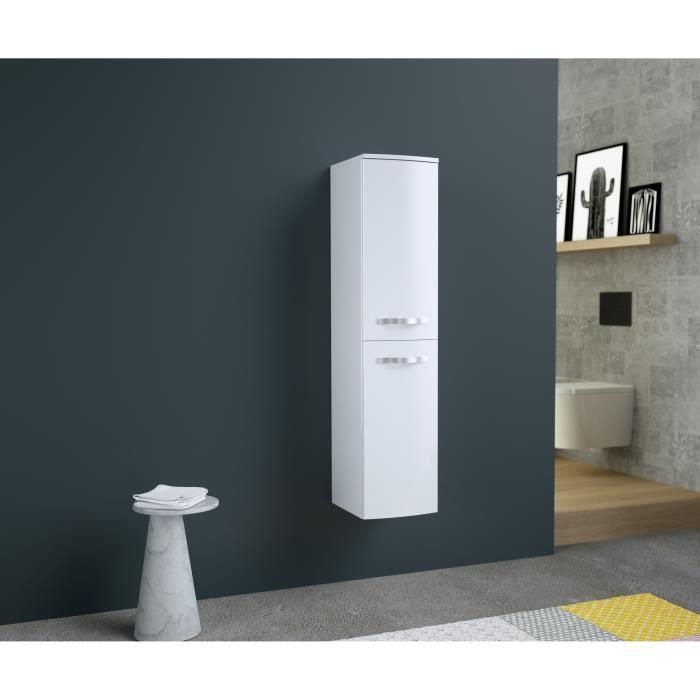 ONDE Colonne de salle de bain L 30cm - Blanc brillant