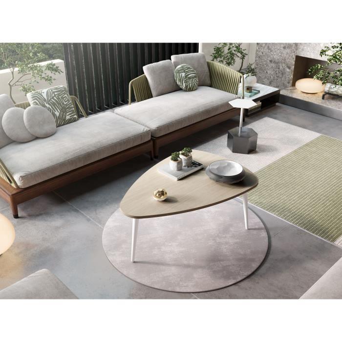 FINLANDEK Table basse HARMONIA scandinave placage chêne et blanc laqué - L 120 x l 85 cm
