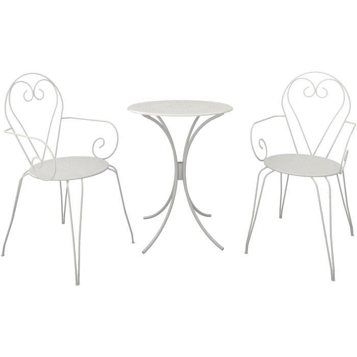 Set Table de jardin romantique avec 2 fauteuils - En fer forgé - Dimensions : 60 cm - Coloris : blanc.SALON DE JARDIN - ENSEMBLE TABLE CHAISE FAUTEUIL DE JARDIN