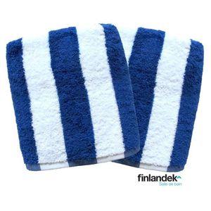 FINLANDEK Lot de 2 serviettes de toilette 50x100 cm rayées bleu