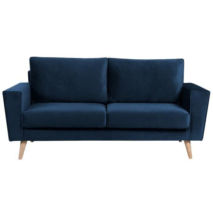 Droit fixe - 3 places - Tissu velours bleu foncé - Scandinave - L 145 x P 52 cm - MŒlleuxCANAPE - SOFA - DIVAN