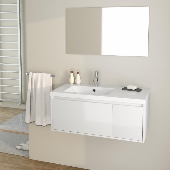 MDF et PVC laqué blanc brillant - 1 meuble sous-vasque 90 cm + simple vasque + 1 miroirSALLE DE BAIN COMPLETE