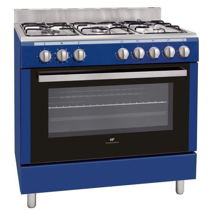 CONTINENTAL EDISON CECP9060MBLU-Cuisinière table Gaz-5 foyers-3000W-Four électrique-Catalyse-104L-A-L90XH85cm-Bleu-Inox