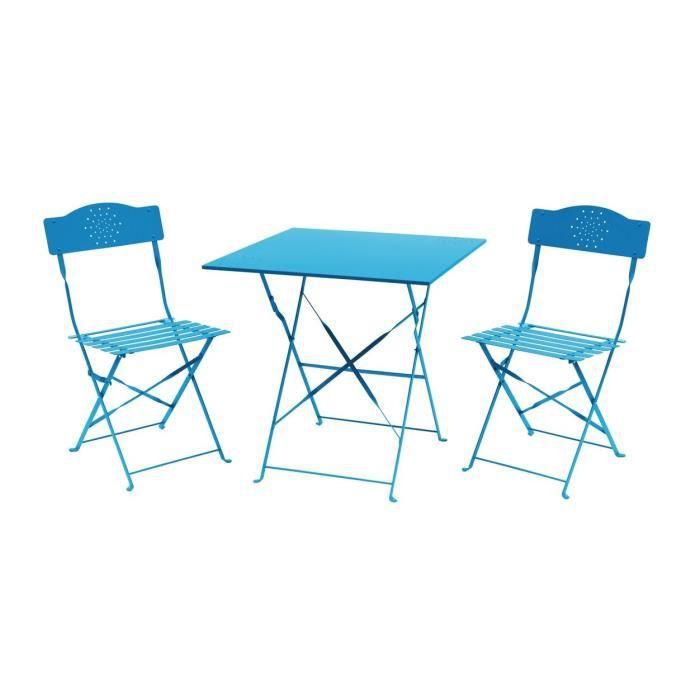 Set bistrot 2 personnes - Table 70x70 cm + 2 chaises - Acier  thermolaqué - Bleu - HIENO