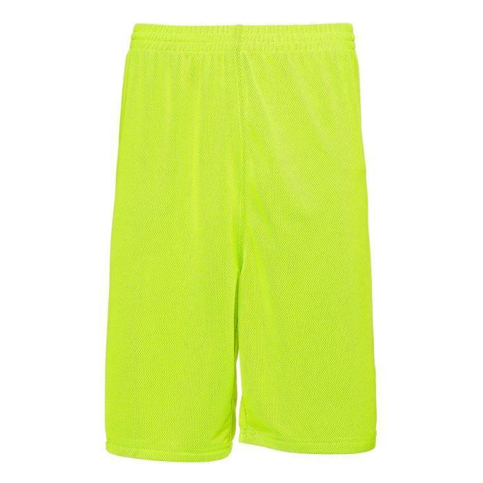 PEAK Short de basketball Réversible - Homme - Noir et vert lime