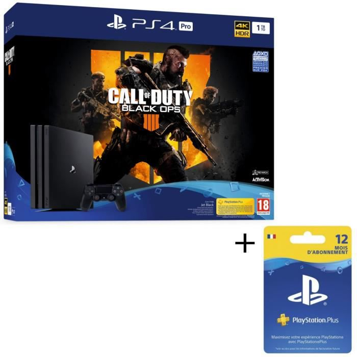 Pack PS4 Pro 1 To Noire + Call of Duty Black Ops 4 + Abonnement Playstation Plus 12 Mois