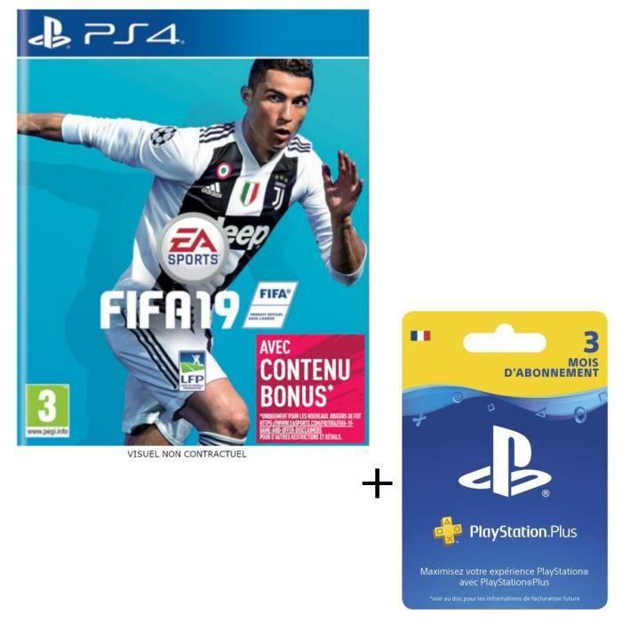 Pack FIFA 19 Jeu PS4 + Abonnement Playstation Plus 3 Mois