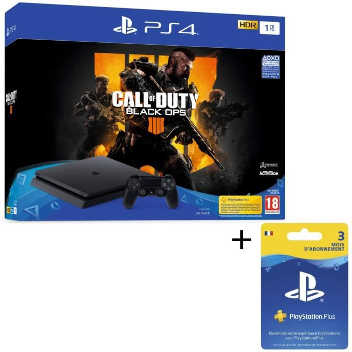 Pack PS4 1 To Noire + Call of Duty Black Ops 4 + Abonnement Playstation Plus 3 Mois