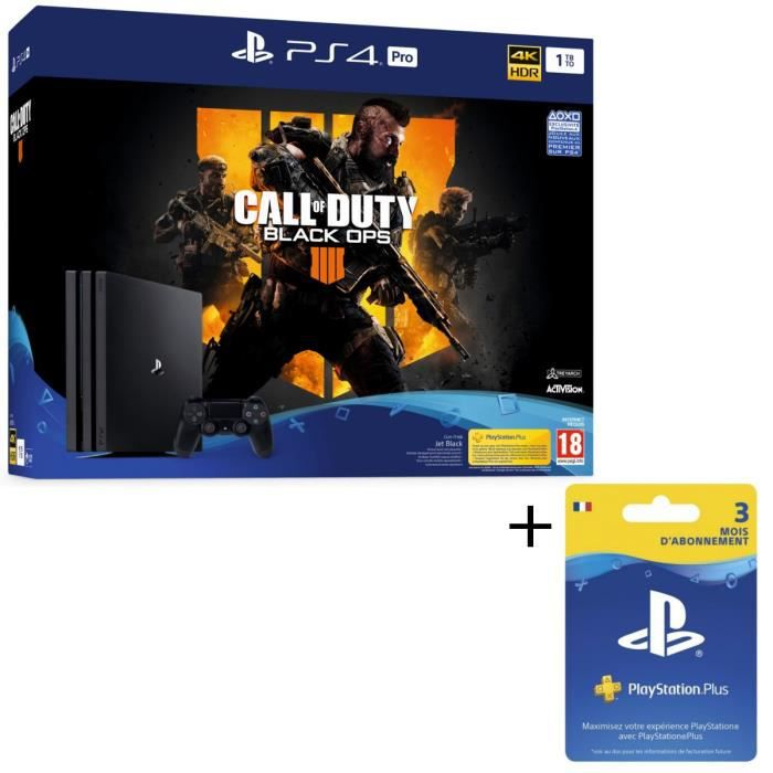 Pack PS4 Pro 1 To Noire + Call of Duty Black Ops 4 + Abonnement Playstation Plus 3 Mois