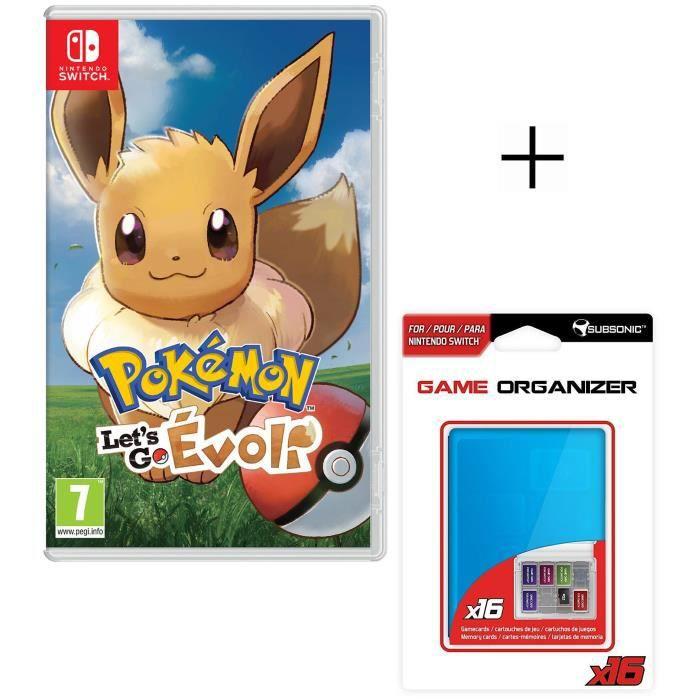 Pokemon let's go Evoli Jeu Switch + Boitier de rangement bleu pour jeux et carte SD pour Switch