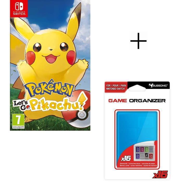 Pokemon let's go Pikachu Jeu Switch + Boitier de rangement bleu pour jeux et carte SD pour Switch