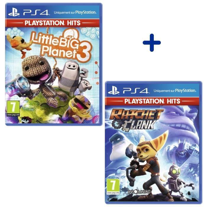 Pack 2 Jeux PS4 PlayStation Hits : Little Big Planet 3 + Ratchet & Clank