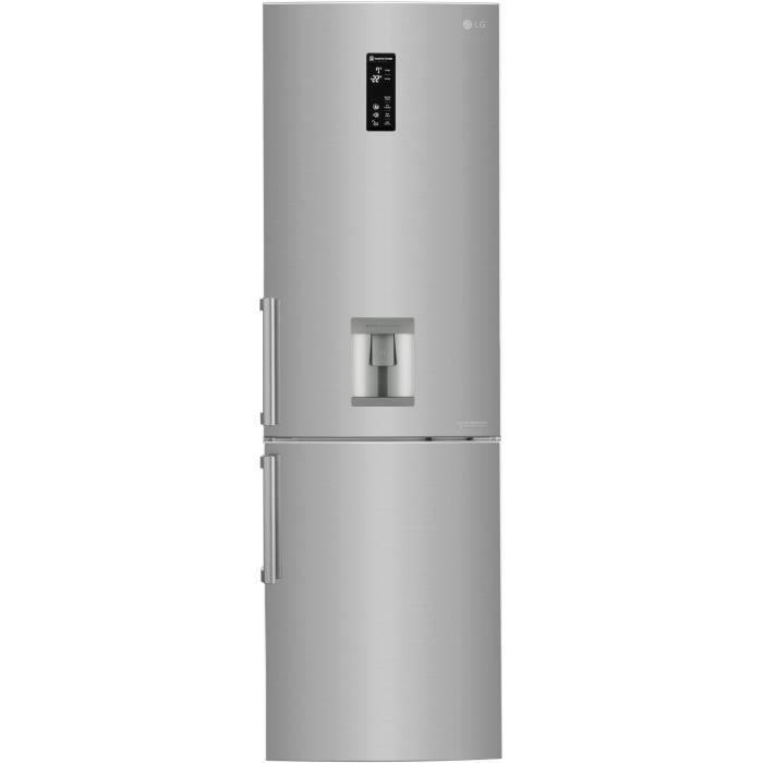 Combiné-318 L (225L + 93L)-Total no frost-A++-L 60,7 x H 190 cm-Distributeur d'eau indépendant-Inox platine-Smart diagnosisREFRIGERATEUR CLASSIQUE