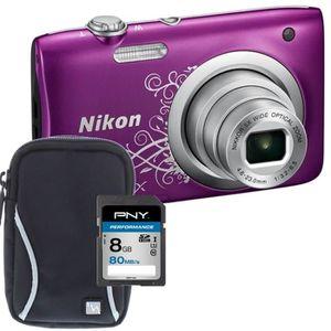 NIKON COOLPIX A100 Appareil photo numérique Compact - 20,1 mégapixels - Zoom NIKKOR - Violet + Carte 8Go + Etui